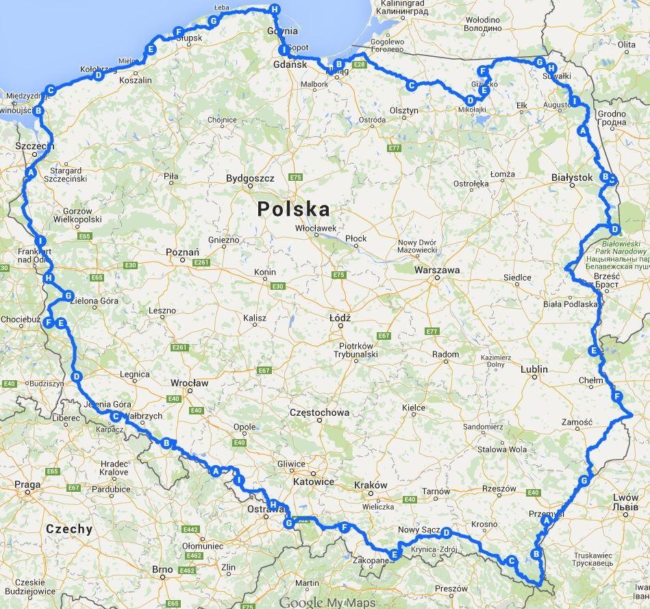 Rowerowa trasa Anity Demianowicz. Źródło: http://www.banita.travel.pl/
