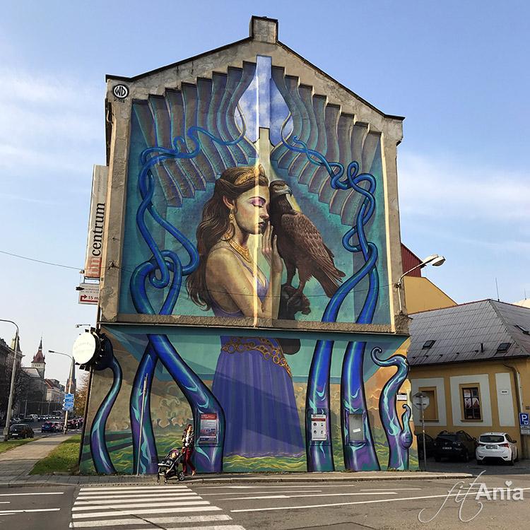 Przepiękny mural w Ołomuńcu